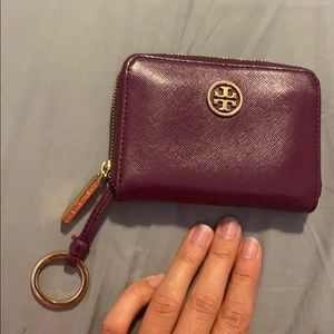Tory Burch Burgundy Leather Keychain Wallet